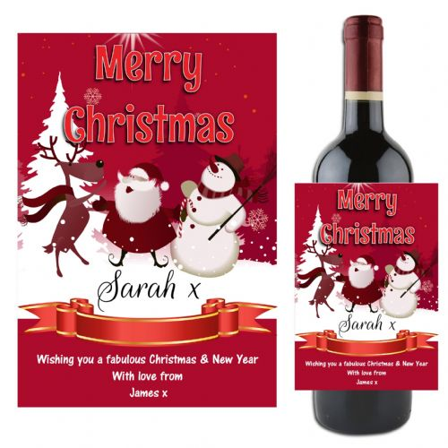 Personalised Christmas Xmas Wine / Champagne Bottle Label Gift N120